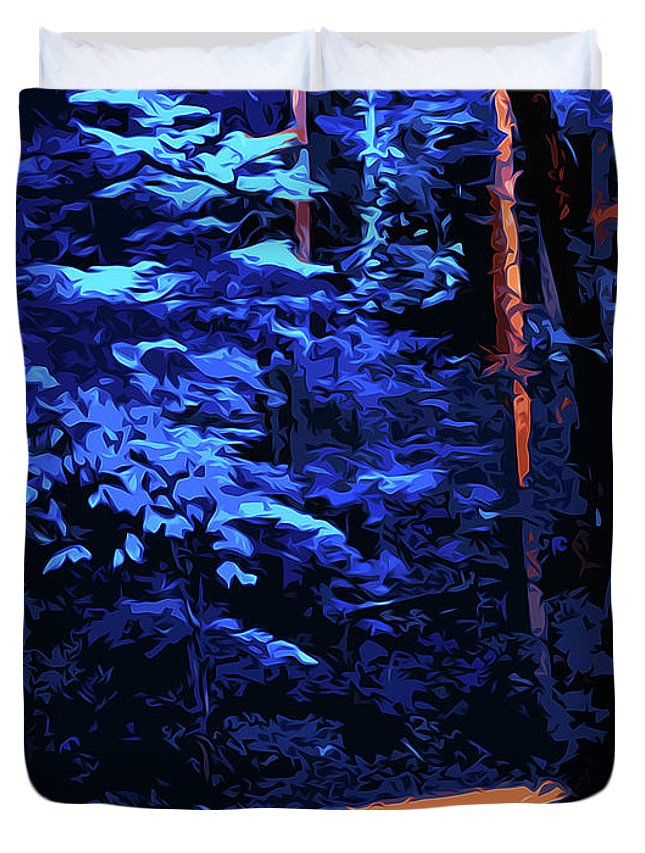 Into The Forest Duvet Cover featuring the painting Into The Forest Of Night by Andrea Mazzocchetti