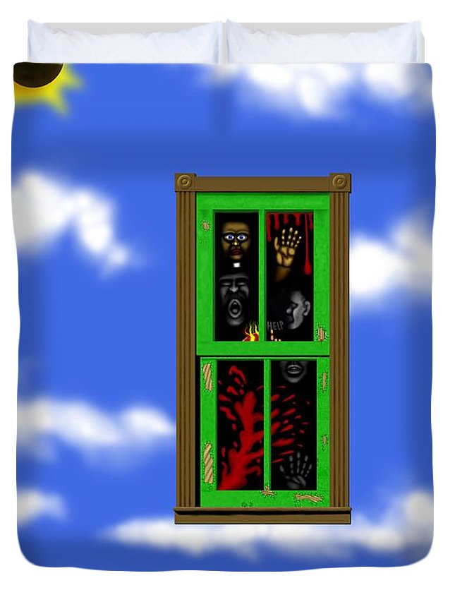 Surrealism Duvet Cover featuring the digital art Into The Green Window by Robert Morin