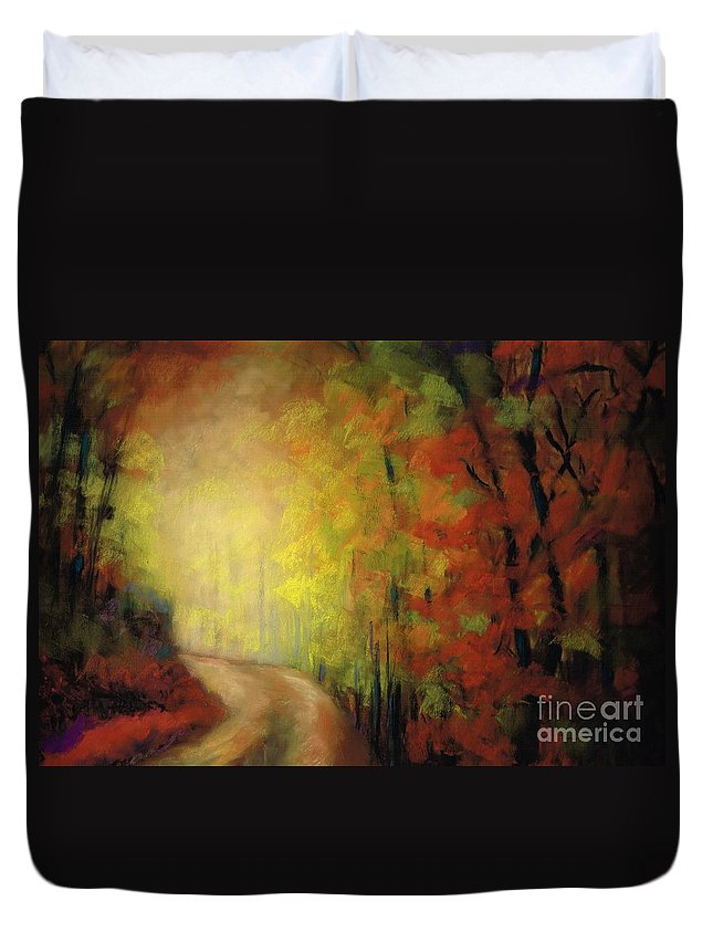 Landscape Duvet Cover featuring the painting Into The Light by Frances Marino