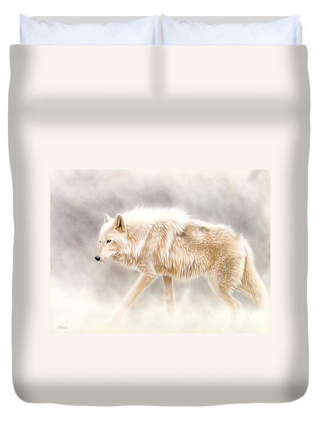 White Wolf Duvet Cover featuring the painting Into The Mist by Sandi Baker