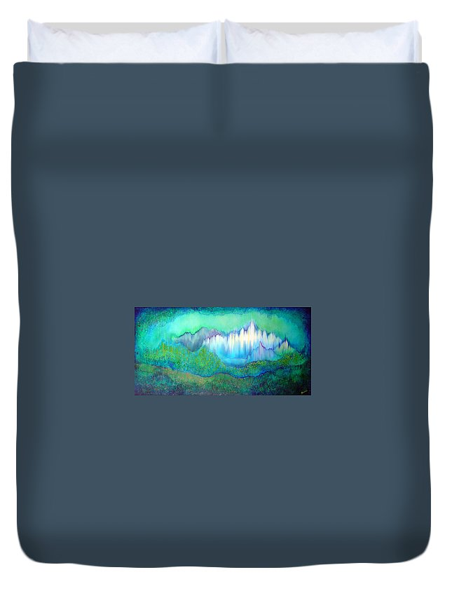 Blue Duvet Cover featuring the painting Into The Ocean by Shadia Derbyshire