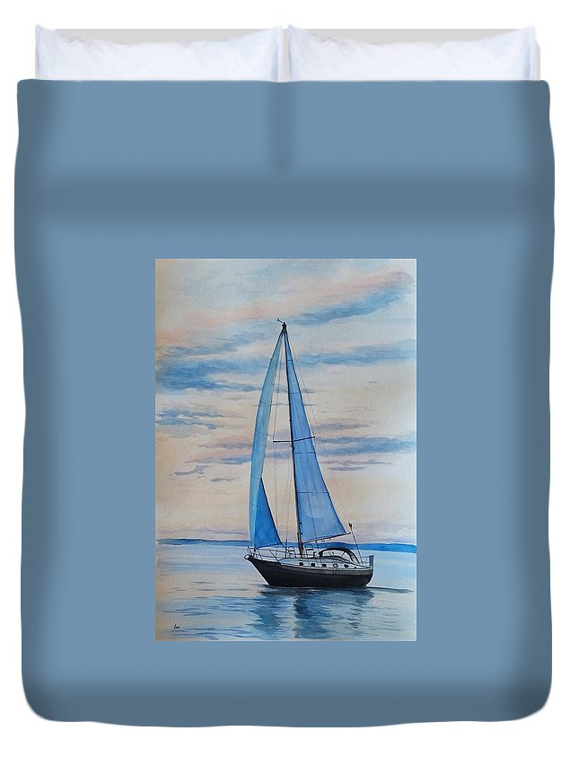 Sailing Duvet Cover featuring the painting Into The Setting Sun by Katrina Case
