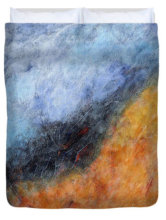 Abstract Duvet Cover featuring the painting Into The Wind Abstract by Karla Beatty