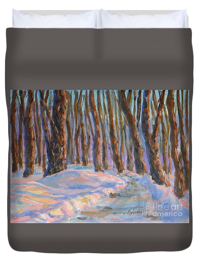 Painting Duvet Cover featuring the painting Into The Woods by Mohamed Hirji