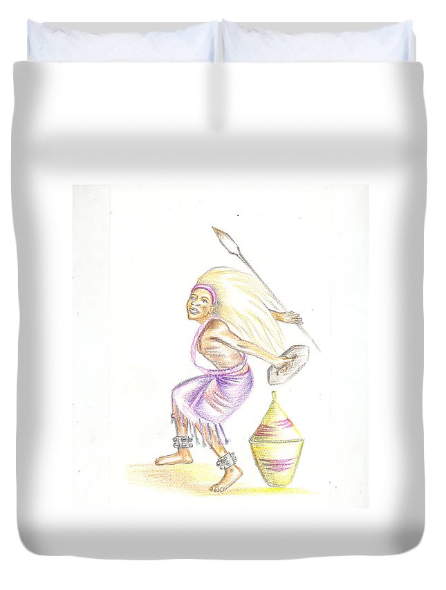 Barry Art Duvet Cover featuring the painting Intore Dance 2 From Rwanda by Emmanuel Baliyanga