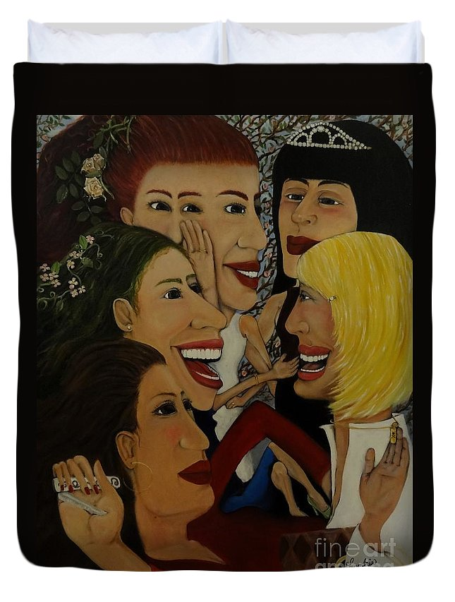 Women Duvet Cover featuring the painting Introductions by Leandria Goodman