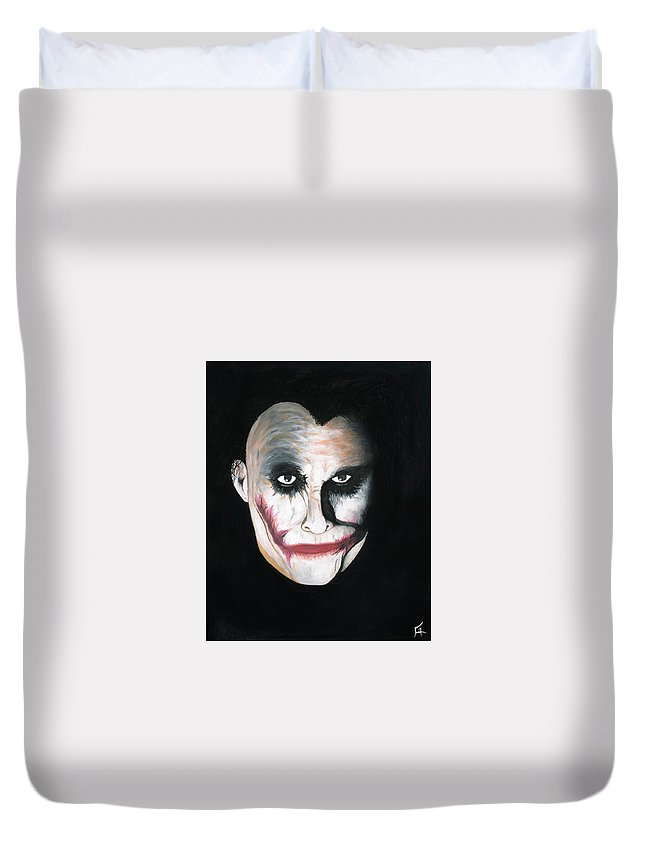 Joker Duvet Cover featuring the painting Introspective Joker by Chris Guest