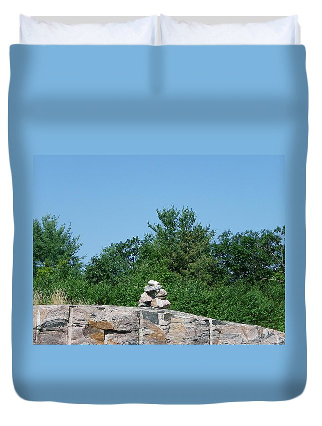 Inuit Duvet Cover featuring the photograph Inukshuk 1 by Peggy King