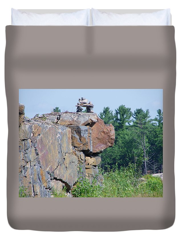 Inuit Duvet Cover featuring the photograph Inukshuk 4 by Peggy King