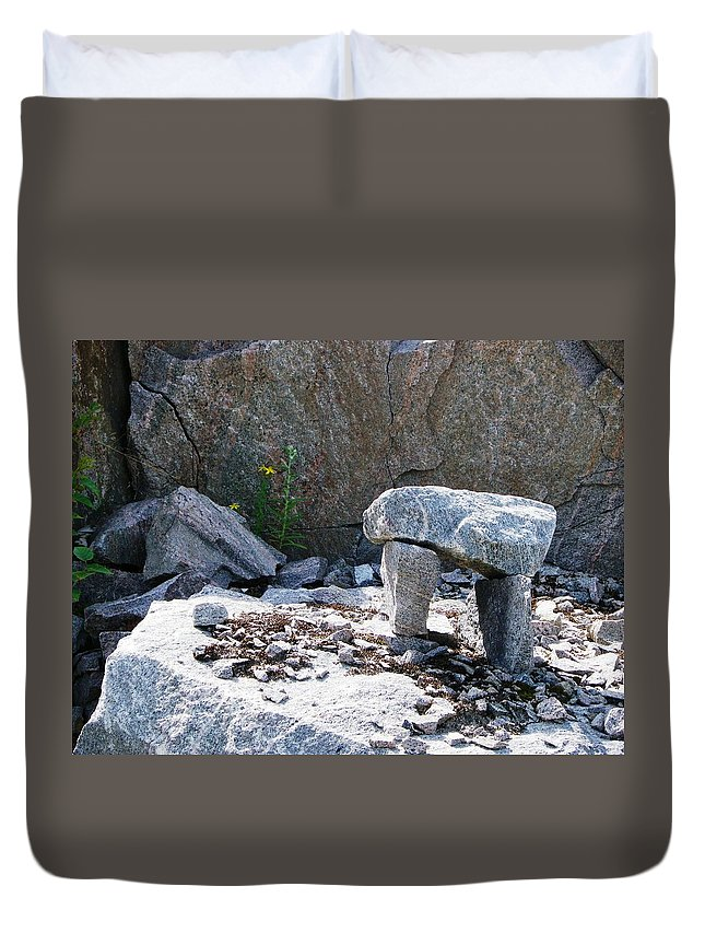 Inuit Duvet Cover featuring the photograph Inukshuk 8 by Peggy King