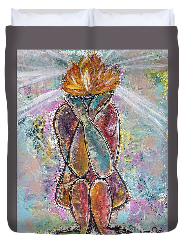Yoga Duvet Cover featuring the painting Inversion by Alicia Walter
