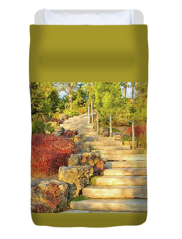 Gardens Duvet Cover featuring the photograph Invitation to Autumn by Marilyn Cornwell