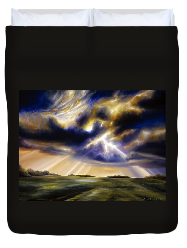 Sunrise; Sunset; Power; Glory; Cloudscape; Skyscape; Purple; Red; Blue; Stunning; Landscape; James C. Hill; James Christopher Hill; Jameshillgallery.com; Ocean; Lakes; Storms; Lightning; Rain; Rays; God Duvet Cover featuring the painting Iowa Storms by James Christopher Hill