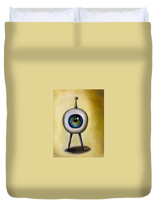 Eye Duvet Cover featuring the painting Ira The Little Alien by Leah Saulnier The Painting Maniac