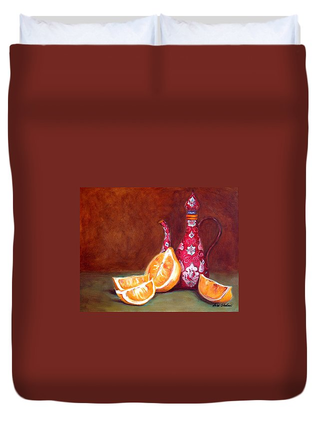 Lemons Duvet Cover featuring the painting Iranian Lemons by Portraits By NC