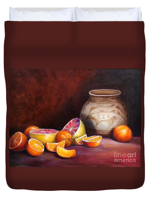 Still Life Paintings Duvet Cover featuring the painting Iranian Still Life by Enzie Shahmiri