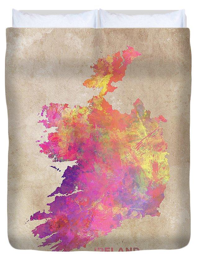 Ireland Duvet Cover featuring the digital art Ireland Map by Justyna JBJart