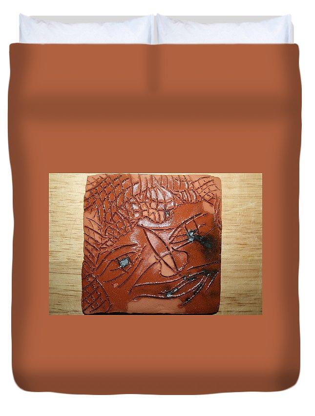 Jesus Duvet Cover featuring the ceramic art Irina -tile by Gloria Ssali