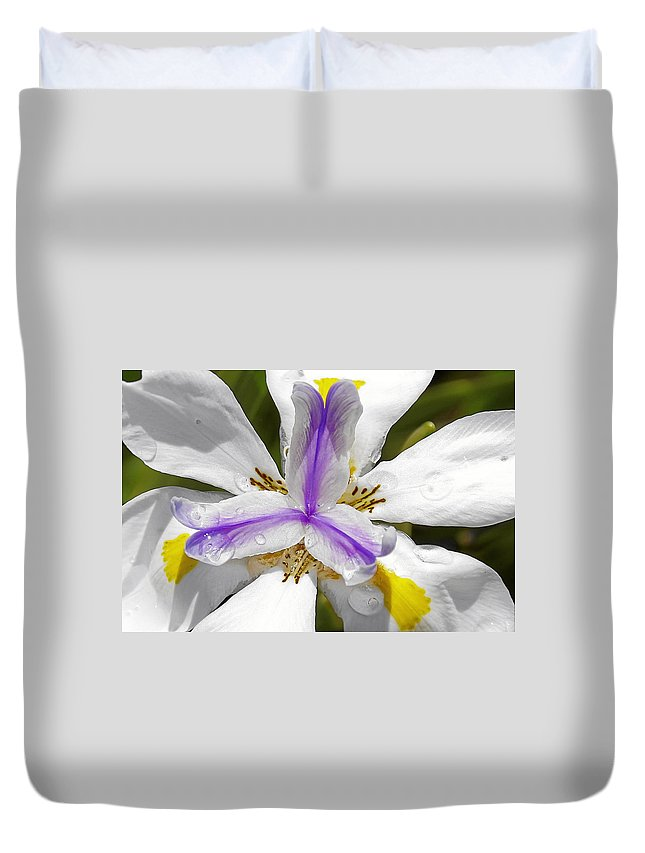 Flower Duvet Cover featuring the photograph Iris An Explosion of Friendly Colors by Christine Till