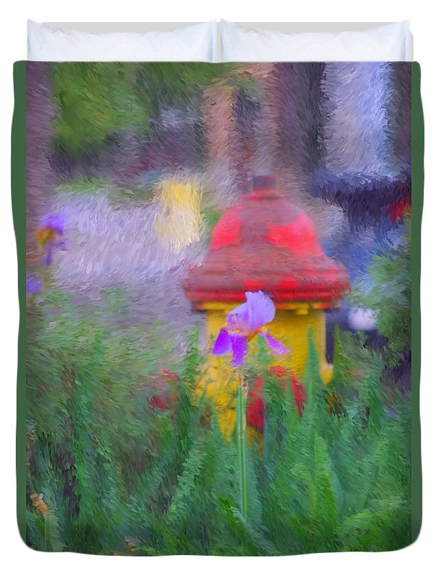 Digital Photo Duvet Cover featuring the photograph Iris And Fire Plug by David Lane