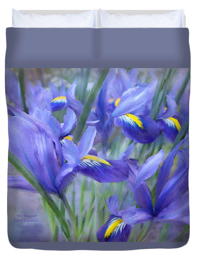 Iris Duvet Cover featuring the mixed media Iris Bouquet by Carol Cavalaris