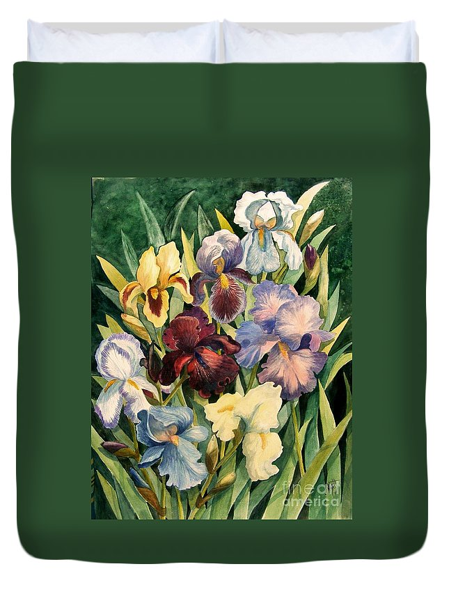 Flowers Duvet Cover featuring the painting Iris Collection by Marilyn Smith