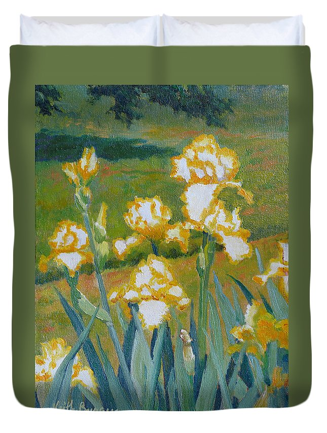 Impressionism Duvet Cover featuring the painting Iris Etude by Keith Burgess