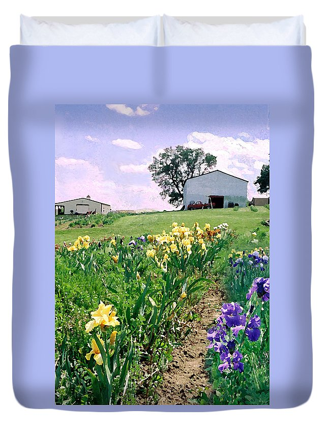 Landscape Painting Duvet Cover featuring the photograph Iris Farm by Steve Karol