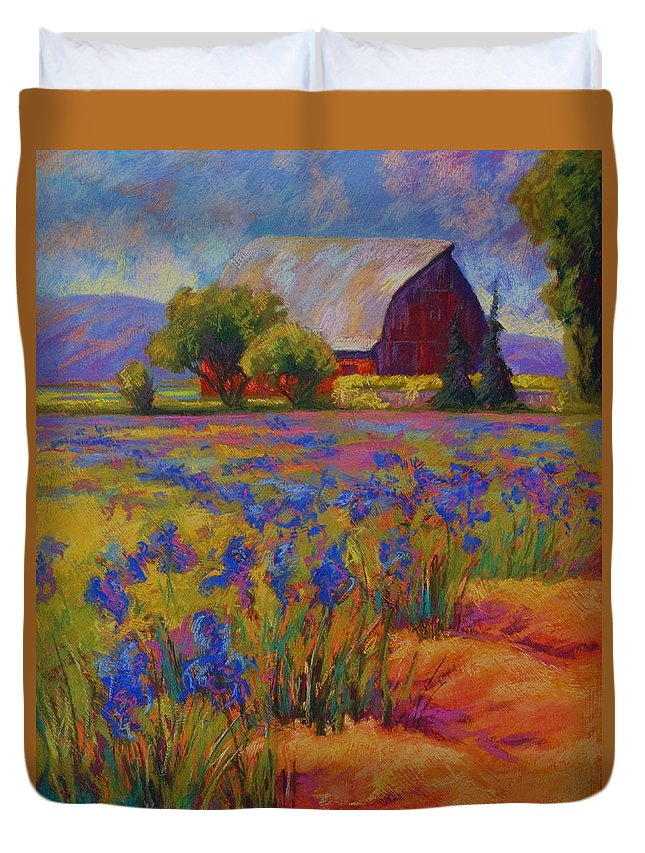 Pastel Duvet Cover featuring the painting Iris Field by Marion Rose