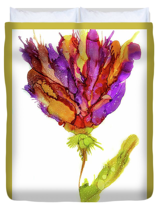 Iris Flower Duvet Cover featuring the painting Iris Flower 2 by Lilia D