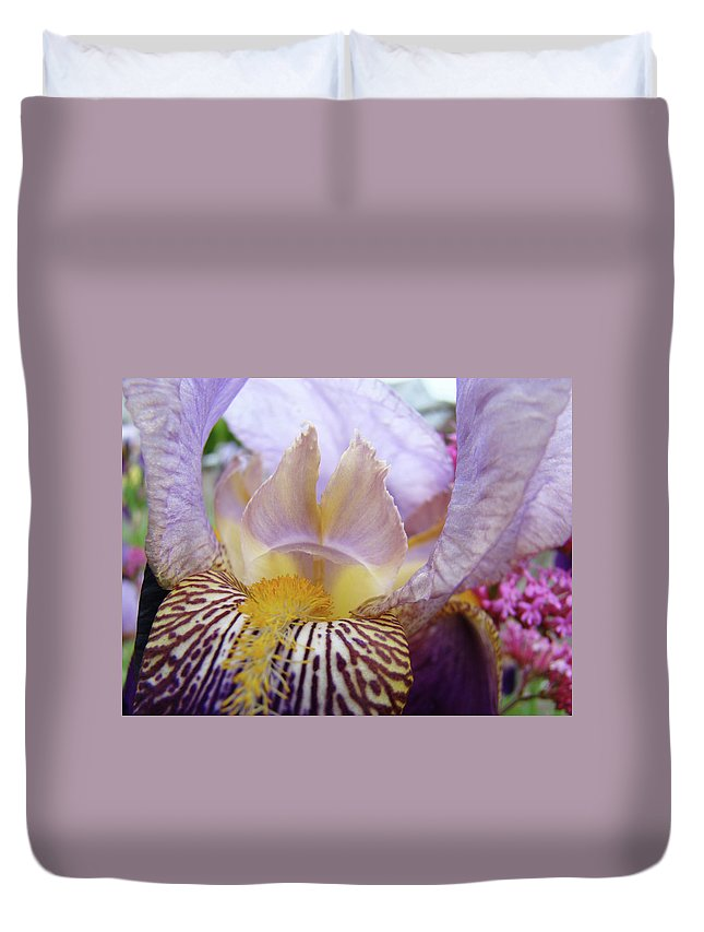 Iris Duvet Cover featuring the photograph Iris Flower Art Purple Lavender Irises Giclee Prints Baslee Troutman by Baslee Troutman