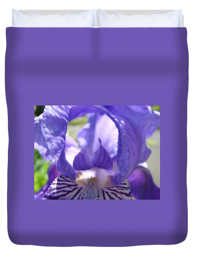 �irises Artwork� Duvet Cover featuring the photograph Iris Flower Purple Irises Floral Botanical Art Prints Macro Close Up by Baslee Troutman