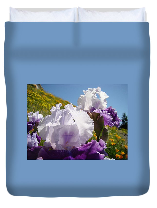 �irises Artwork� Duvet Cover featuring the photograph Iris Flowers Purple White Irises Poppy Hillside Landscape Art Prints Baslee Troutman by Baslee Troutman
