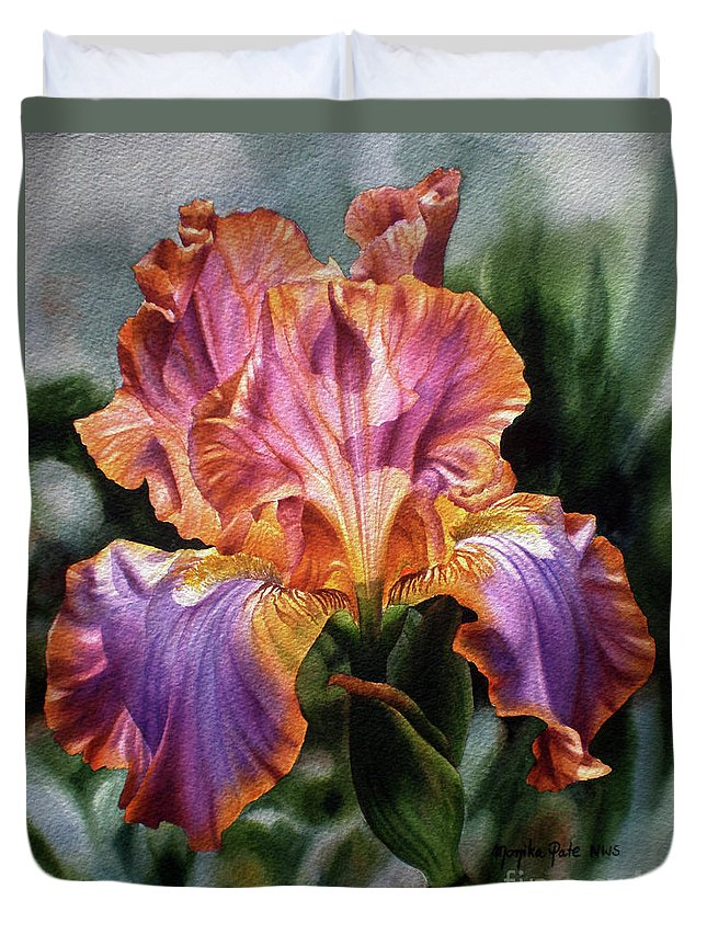 Flower Duvet Cover featuring the painting Iris II by Monika Pate