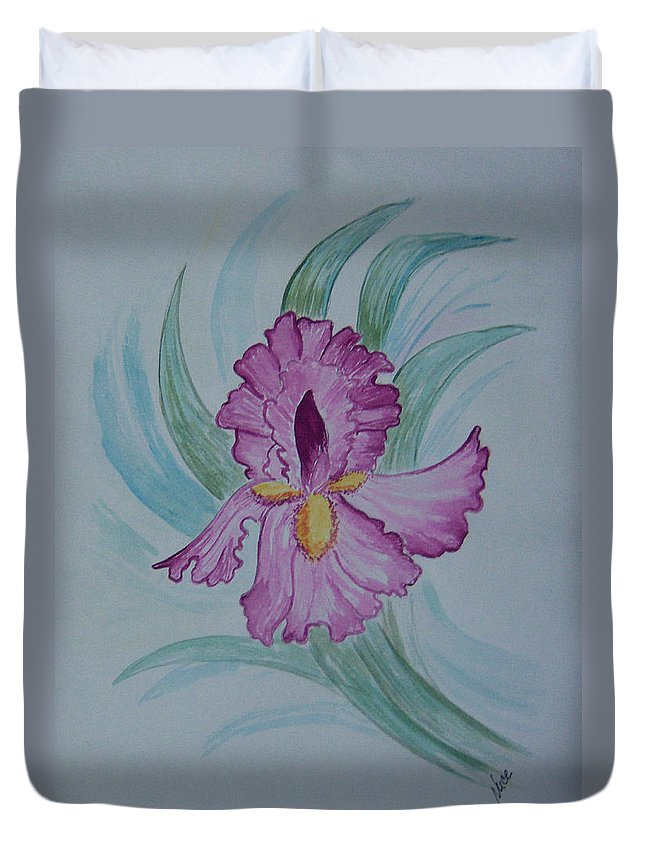 Iris Duvet Cover featuring the painting Iris In Lavender by Nancy Nuce