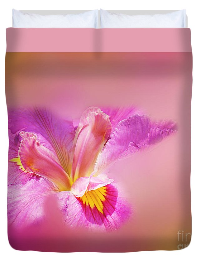 Iris Duvet Cover featuring the photograph Iris In Mist by Judi Bagwell