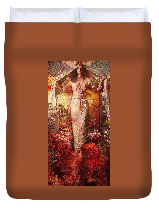 Iris Steps In To The Light. Duvet Cover featuring the painting Iris In The Garden Of The Sun by Philip Habeger