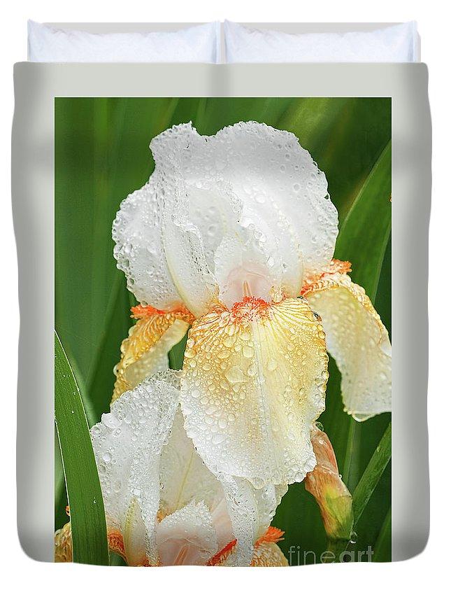 Iris Duvet Cover featuring the photograph Iris In The Rain by Regina Geoghan