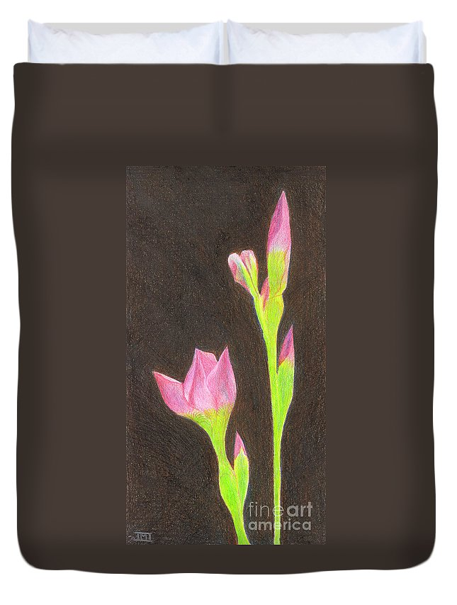 Iris Duvet Cover featuring the drawing Iris by Jackie Irwin