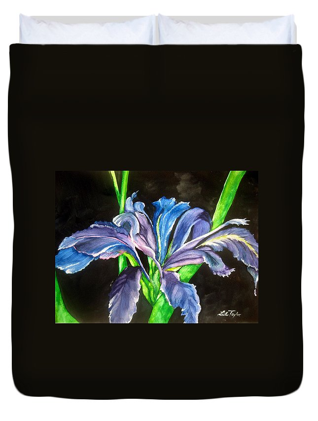 Iris Duvet Cover featuring the painting Iris by Lil Taylor