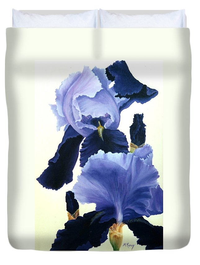 Flower Duvet Cover featuring the painting Iris by Melissa Joyfully
