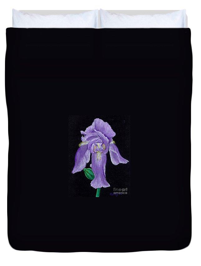Iris Duvet Cover featuring the pastel Iris by Mendy Pedersen