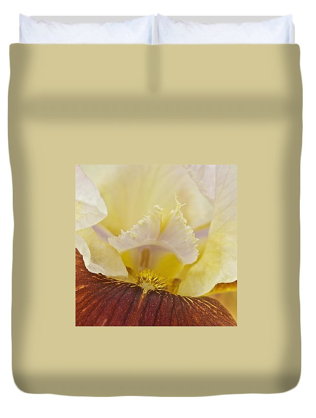 Macro Duvet Cover featuring the photograph Iris by Michael Peychich