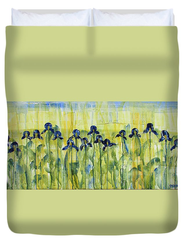 Iris Duvet Cover featuring the painting Iris On Parade by Diane Dean