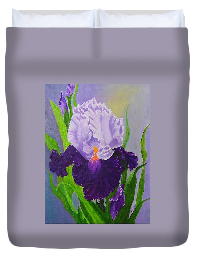 Floral Painting Duvet Cover featuring the painting Iris by Peggy Holcroft