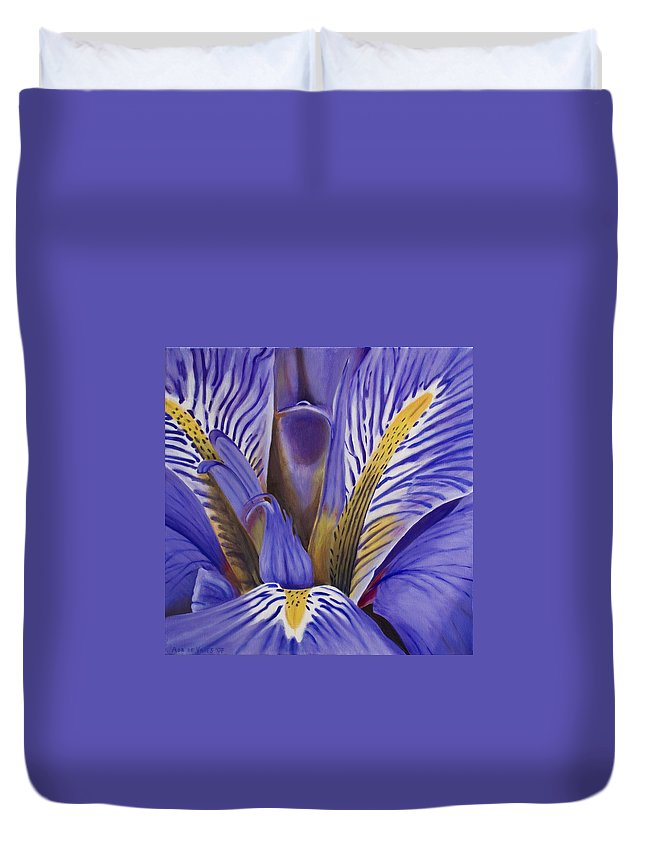 Flower Duvet Cover featuring the painting Iris by Rob De Vries