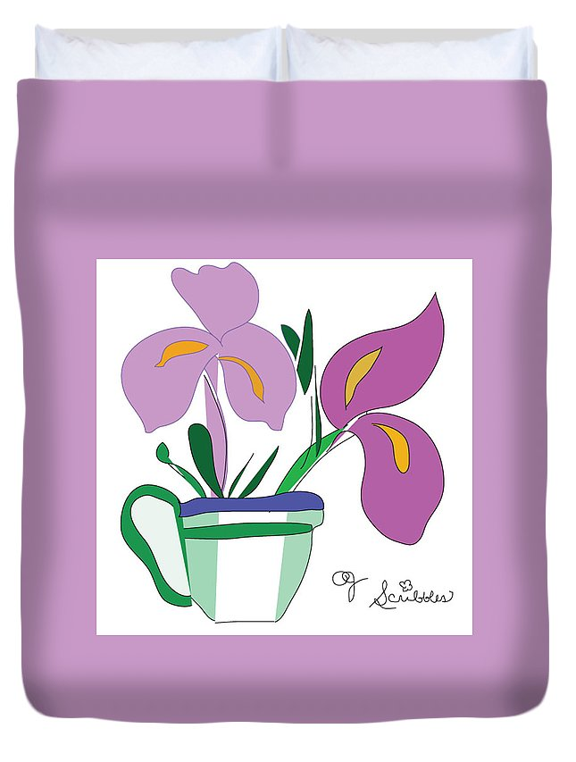 Iris Duvet Cover featuring the photograph Iris Scribble by Pamela Jessiman