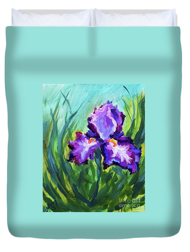 Duvet Cover featuring the painting Iris Solo by Melissa G Thompson