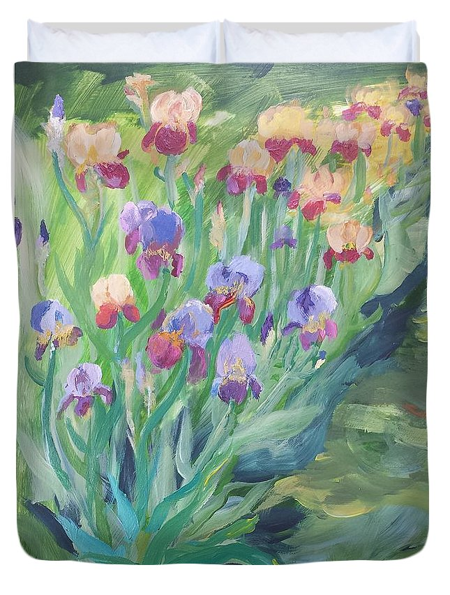 Iris Duvet Cover featuring the painting Iris Spring by Cheryl LaBahn Simeone