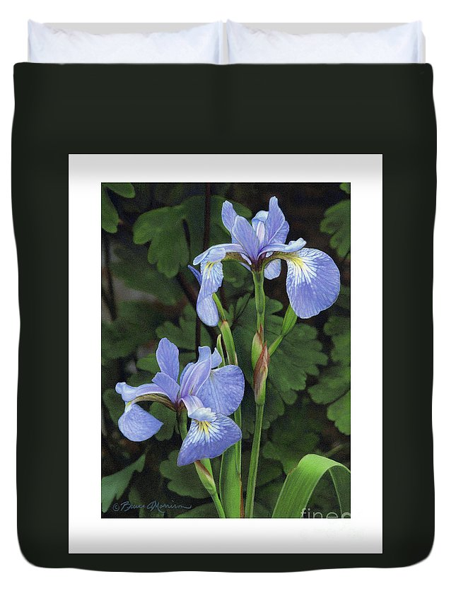 Iris Duvet Cover featuring the drawing Iris Study by Bruce Morrison
